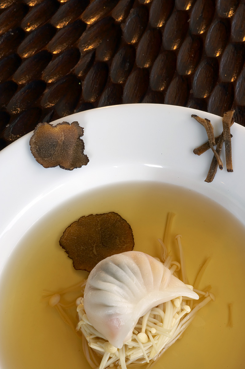 Clear Broth of Lobster Dumplings and Black Truffle